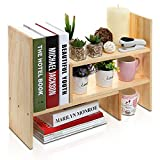 desk organizer wood - Adjustable Natural Wood Desktop Storage Organizer Display Shelf Rack, Counter Top Bookcase, Beige