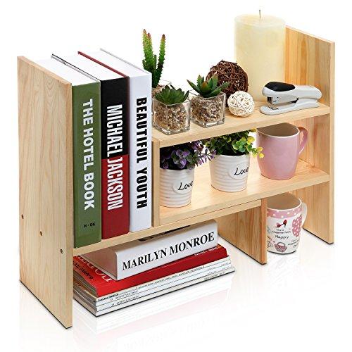 Adjustable Natural Wood Desktop Storage Organizer Display Shelf Rack, Counter Top Bookcase, Beige (Small Wooden Desk)