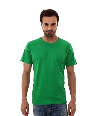 e74d67c45 Casablanca Men's Round Neck Plain Cotton T Shirt,Green: Amazon.in ...