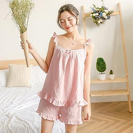 Mangeoo Pijama de algodón eslinga cortos traje dos señoras verano ropa sweet Home Furnishing,L