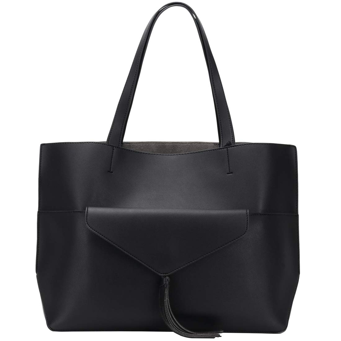 6f9504f769 Amazon.com  Alnaue Women PU Leather Handbags Black Tote Bag Matching Wallet  Satchel Shoulder Bags  Shoes