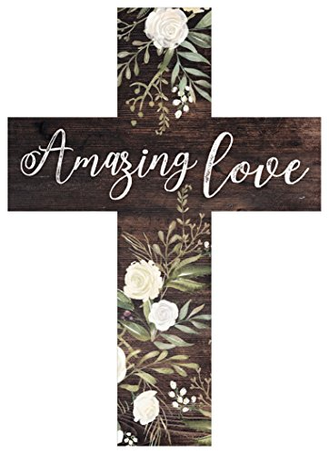 P. Graham Dunn Amazing Love Rustic Floral Dark Brown 5 x 7 Solid Pine Wood Wall Hanging ()