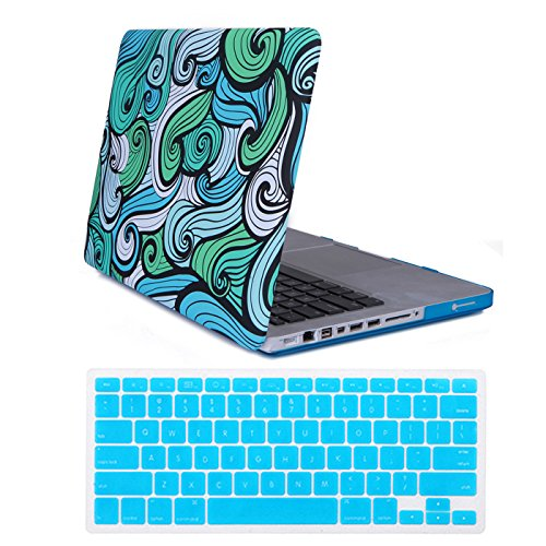 HDE MacBook Pro 13 Non Retina Case Hard Shell Plastic Matte Snap on Case with Keyboard Skin Fits Model A1278 (Blue Vector Waves) (2008 Wave)