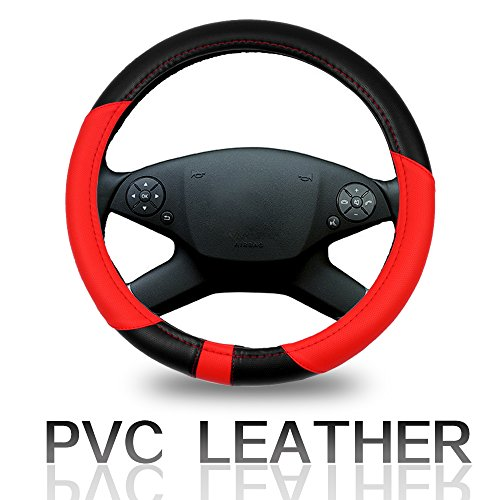 Cover 15 Inch Universal Leather - Black/Red Car Steering Wheel Cover ()