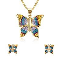 Women's Stainless Steel Crystal Pave Elegant Vintage Pendant Necklace and Earring Statement Jewelry Set