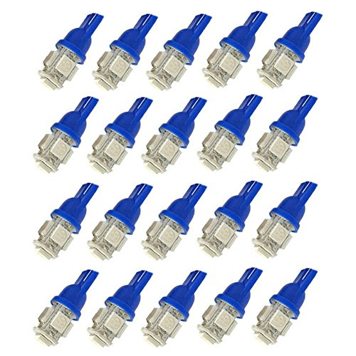 XT AUTO 20pcs Blue T10 Wedge 5-SMD 5050 LED Light bulbs W5W 2825 158 192 168 194 for Car Boot Trunk Map Light Number Plate License Light