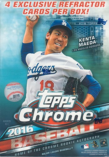 2016 Topps Chrome MLB Baseball Series Factory Sealed Unopened Box of Packs with 4 Blaster EXCLUSIVE Sepia Refractor Cards