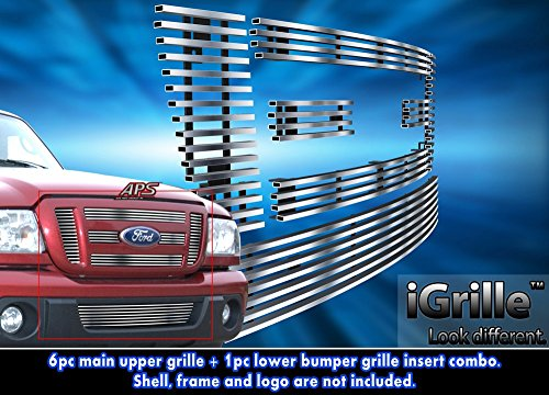 304 Stainless Steel Billet Grille Grill Combo Fits 2006-2012 Ford Ranger FX4/XL/XLT #N19-C37776F (2006 Ford Ranger Grill Emblem)