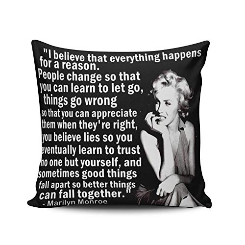 - Custom Beauty Design Black and White Marilyn Monroe Quotes Pattern Square Pillowcase Zippered 18x18 Inches Throw Pillow Case Cushion Cover