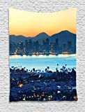 Ambesonne Apartment Decor Collection, San Diego at Sunrise in Harbor Waterfront Cityscape Business District Scenic View, Bedroom Living Room Dorm Wall Hanging Tapestry, Cream Navy Blue