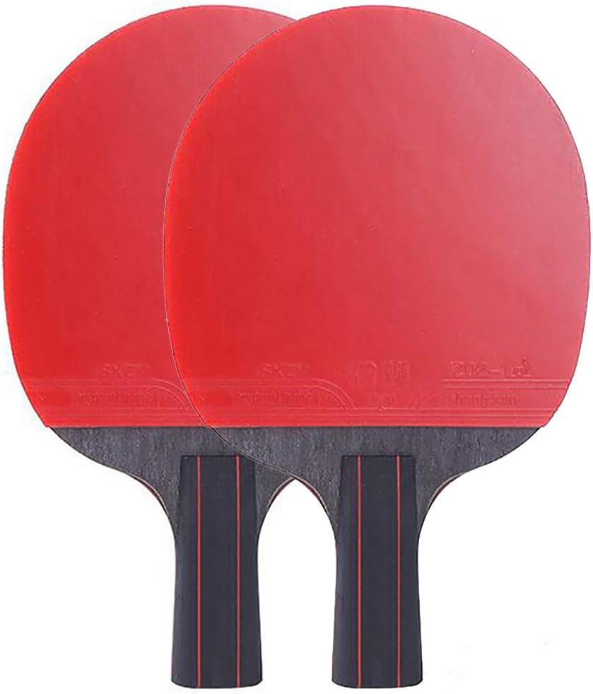 ANJING Juego de 2 Palas de Tenis de Mesa, Paleta Profesional de Ping Pong, Raqueta de Tenis de Mesa con Hoja de Fibra de Carbono, empuñaduras de Goma,Short Handle