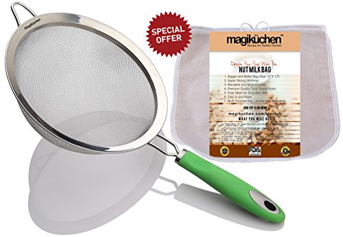 MagiKüchen 8-Inch Colander Fine Mesh Stainless Steel Sieve Strainer with Heat-Resistant Handle with Bag, (Refreshing Green)
