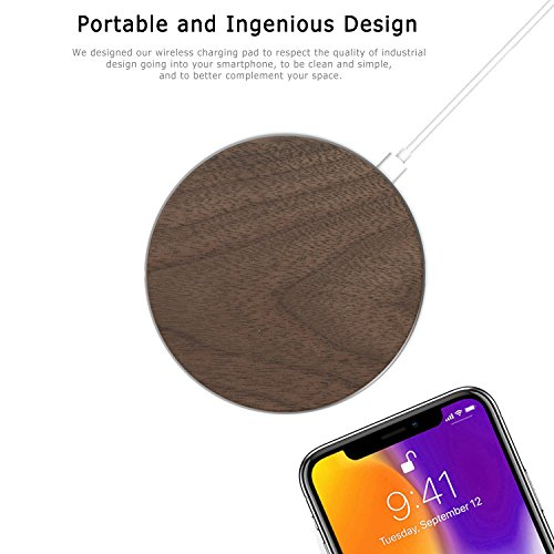 Wood Fast Wireless Charger for iPhone X, Wooden Wireless