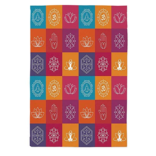 Yoga Soft Tablecloth,Colorful Collection of Yoga Icons and Relaxation Symbols Wellness Harmony Health Zen for Buffet Table Parties Holiday Dinner Wedding & More,60''W X 90''L