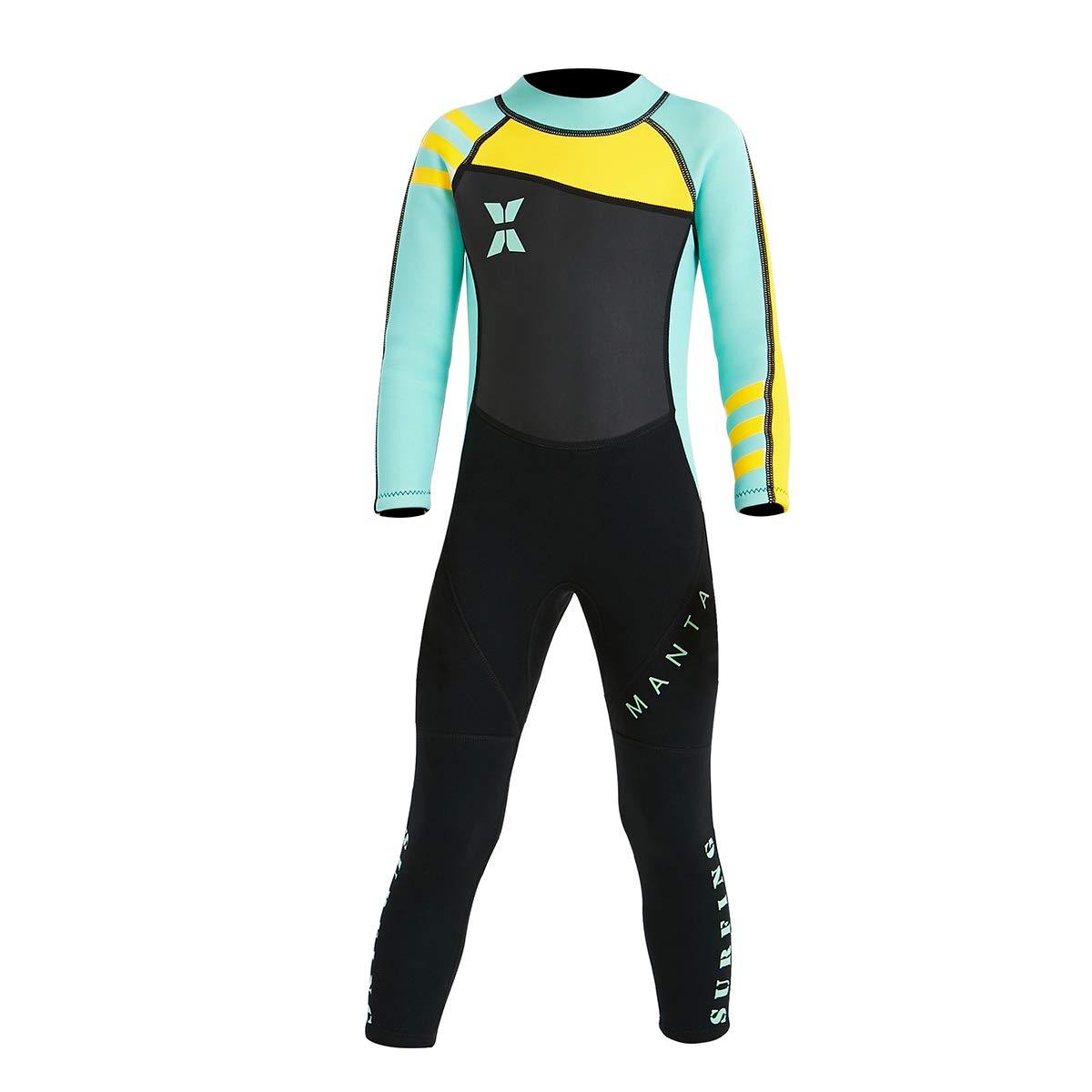 NATYFLY ネオプレンウェットスーツ キッズ ボーイズ ガールズ バックファスナー ワンピース水着 UV保護 ブランド   B07FW3775F
