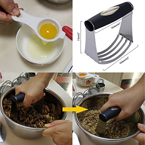 Pastry Cutter Set Biscuit Cutter Set (5 Circle+1Fluted Edge) Dough Blender Mixer Cookie Cutters Round Baking Dough Tools & Pastry Utensils with Egg Separator GIFT BOX! by M JINGMEI (Image #2)
