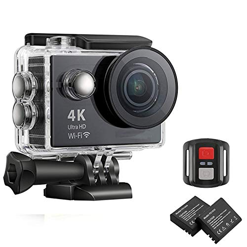 MOSPRO FT7500 Action Camera, 4K Ultra HD Wifi Waterproof 170 Degree Wide Angle 12 MP DV Camcorder Sports Camera with 2.4G Remote Control 2Pcs 1050mAh Batteries 19 Mounting Kits(2017 New) Mospro