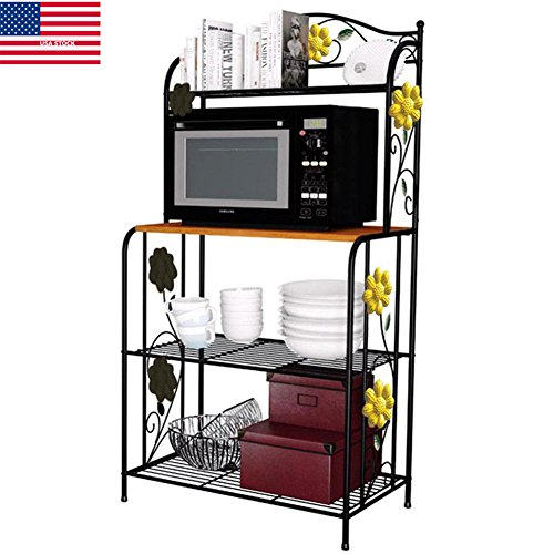 YAONIEO 4-Tiers Metal Kitchen Bakers Racks Organizer Microwave Oven Stand Storage Rack Shiping from - Us Shiping