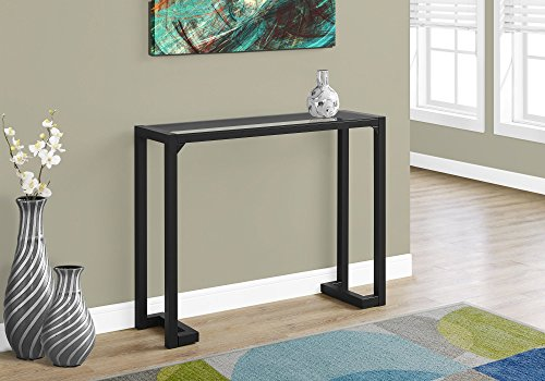 Monarch Specialties I 2106 Accent Table-42 L Tempered Glass Hall Console, Black