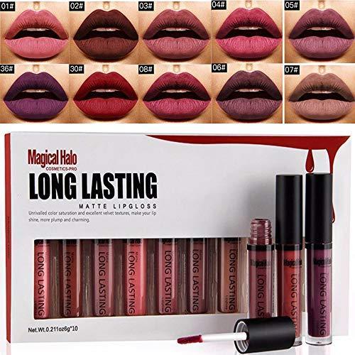 Magical Halo 10pcs/set Long Lasting Velvet Lip Gloss Pigment Waterproof Soft Texture Luster Matte Liquid Lipstick Makeup Tool