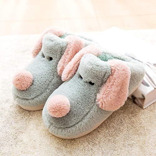 Maison Coton Mignon De Dessinée De D'intérieur Bas Ménage Antidérapant Taille Bande Pantoufles Couleur d'hiver De De HUYP Green 35 Pink De EPqzSF