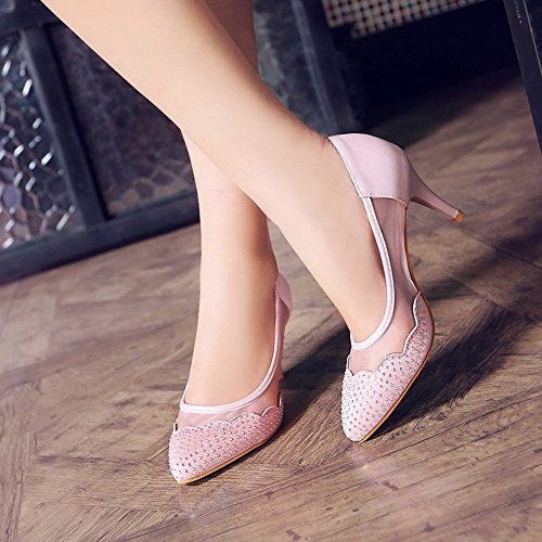 MissSaSa Damen high heel elegant Pointed toe Pumps mit Strass Pink