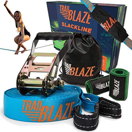 Trailblaze – 60 Feet Slackline, Kids to Adults Slackline Kit, Beginners Slackline Set with Ratchet Cover, Tree Protector…