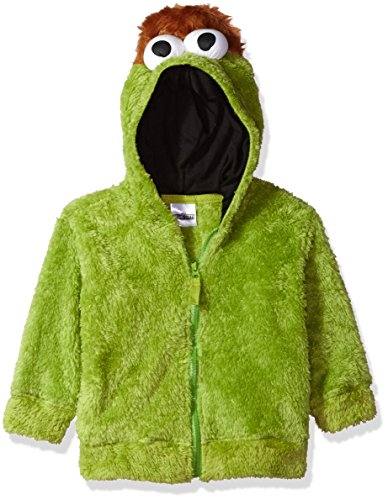 Sesame Street Toddler Boys' Fuzzy Costume Hoodie (Multiple Characters), Oscar The Grouch Green, 5T -