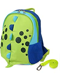 Upgraded Kids Insulated Toddler Backpack with Safety Harness Leash and Name Label - Playful Preschool Kids Lunch Bag, Dinosaur