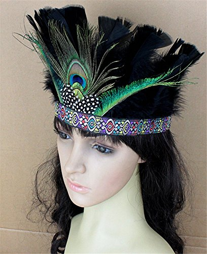 Scary Cown (Pavian Indian tribal chiefs exaggerated colorful peacock feathers headdress headband for halloween party cosplay costume green)