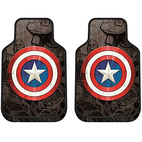 Captain America Shield Marvel Comics Auto Car Truck SUV Vehicle Front Seat Plasticlear Vinyl Floor Mats - PAIR
