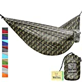 Hammock for Camping Single & Double Hammocks - Top Rated Best Quality Gear For The Outdoors Backpacking Survival or Travel - Portable Lightweight Parachute Nylon DO Camo