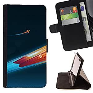 For Sony Xperia Z3 Compact / Z3 Mini (Not Z3),S-type Cohete Fuego- Dibujo PU billetera de cuero Funda Case Caso de la piel de la bolsa protectora