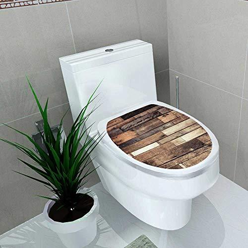 Auraise-home Bathroom Toilet and Ground Wooden Rustic Floor Planks Grungy Look Farmhouse Country Style Walnut Oak Grain Vinyl Decal Sticker W14 x L16 (Hillary Walnut)