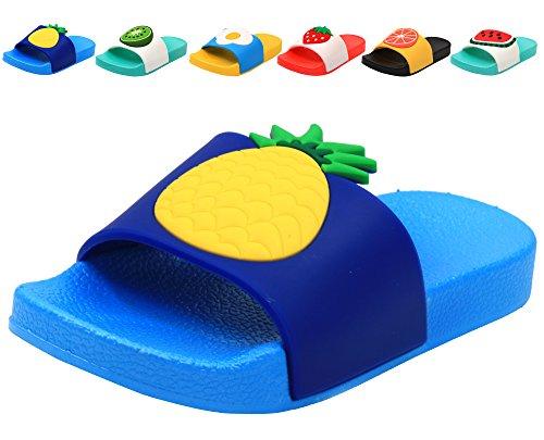 Femizee Colorful Fruit Boys Girls Slide Sandals Summer Beach Pool Bath Slippers (Toddler/Little Kid) Pineapple SHO1225 CN29