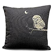 CoolDream Decorative 45CM X 45CM Inch Linen Cloth Pillow Cover Cushion Case Owl in the Dark