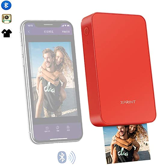 zhixing - Impresora fotográfica portátil, Impresora fotográfica para Smartphone 300 PPP mutilfution Zero Ink Mini Bluetooth inalámbrica portátil con USB y Papel fotográfico para Android iOS: Amazon.es: Hogar