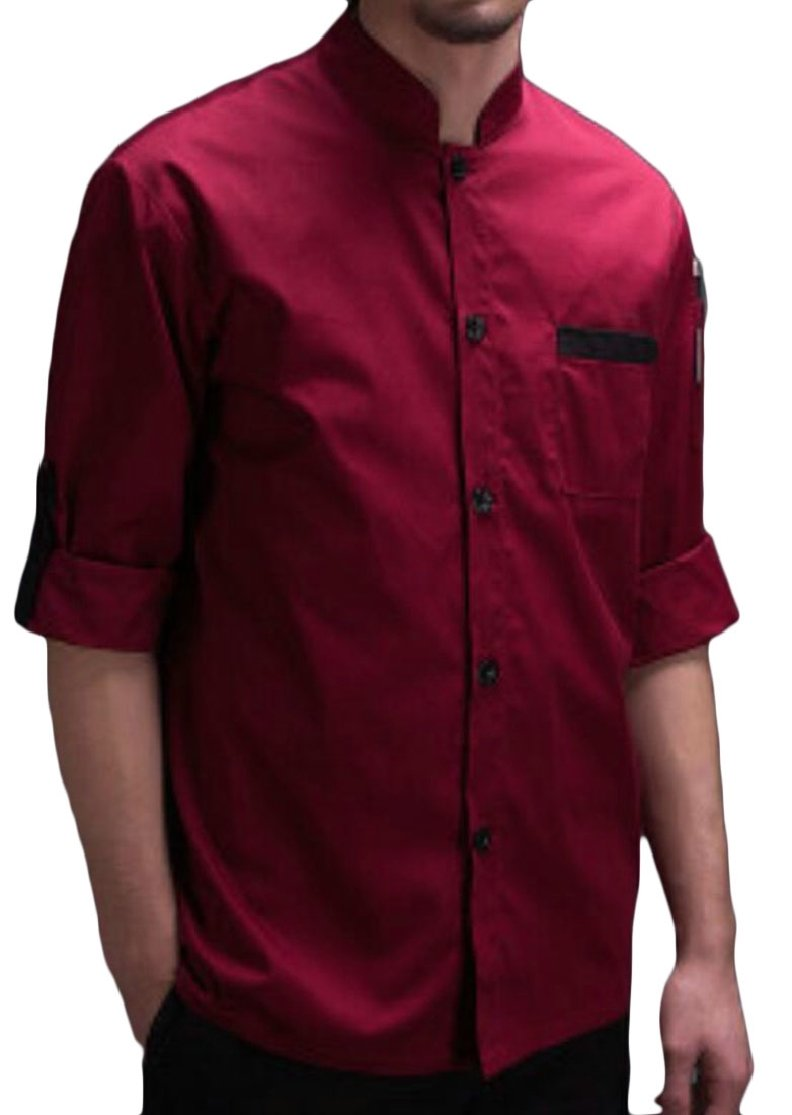 M&S&W Mens Chef Coats Summer Short Sleeves Chefs Work Clothes Wine Red M