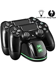 PS4 Chargeur TOPELEK Dock Station Support Double USB de Charge Rapide pour Sony Playstation PS 4/ Slim/Pro Console PS4 Chargeur, Double PS4 Chargeur Rapide Cradle Station Accessoire(Vert-&Rouge LED)