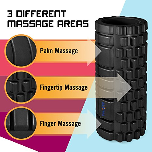 Yes4All Deep Tissue Foam Roller for Muscle Massage – Multi Color Available (13 inch)