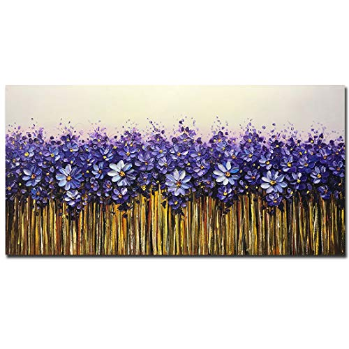 Yotree 24x48 Inch Paintings,Simple Modern Style Abstract Canvas Art 3D Hand-Painted Landscape Abstract Artwork Acrylic Knife Painting Ready to Hand