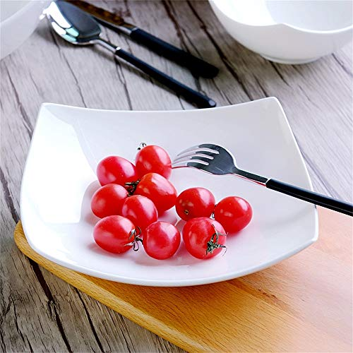 ChenDZ Hotel Tableware Creative Porcelain Plate Pure White Salad Fruit And Vegetable Ceramic Soup Plate Deep Dish Household Square Plate Bone China Dish,White