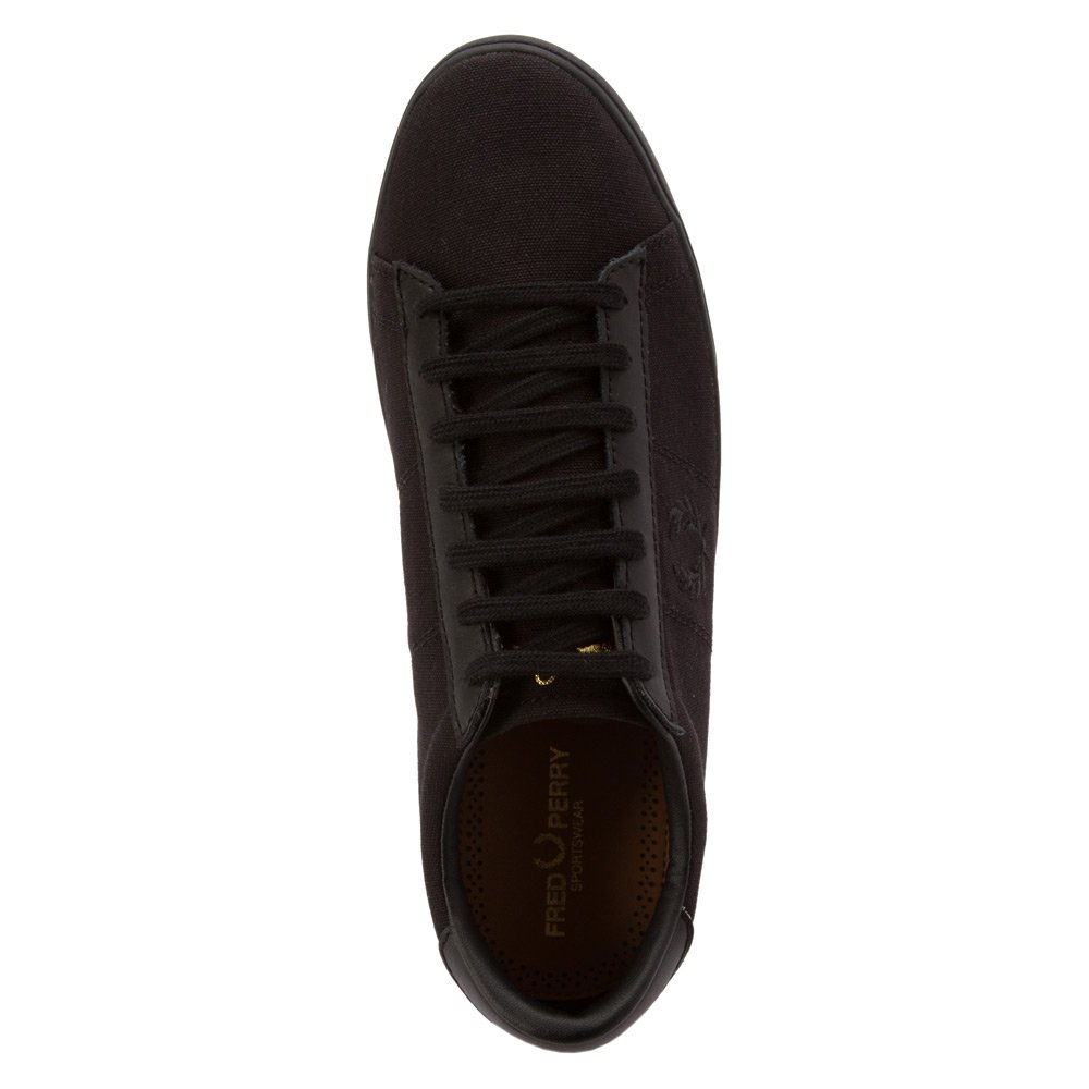 1624db9f79 Amazon.com: Fred Perry Men's Spencer Canvas/Leather Sneaker Black 6.5 UK:  Shoes
