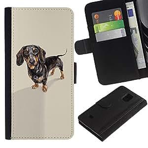 All Phone Most Case / Oferta Especial Cáscara Funda de cuero Monedero Cubierta de proteccion Caso / Wallet Case for Samsung Galaxy S5 Mini, SM-G800 // Dachshund Badger Dog Black Brown