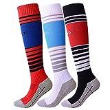 KALAKIDS Kids Soccer Socks Long Stripe Knee High Football Socks for Boys/Girls / Youth 3 Pack (2018 New