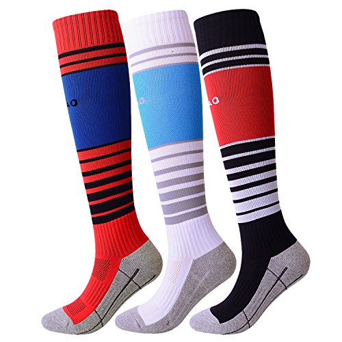 KALAKIDS Kids Soccer Socks Long Stripe Knee High Football Socks for Boys/Girls / Youth 3 Pack (2018 New