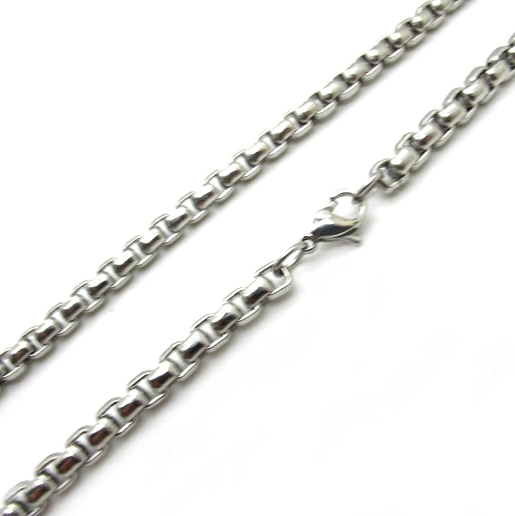 BoxDragon Jewelry Mens 7mm Wide Stainless Steel Mens Belcher Chain Necklace Link Lenth 18-28
