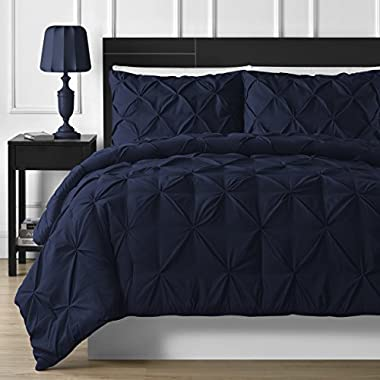 #NEW DESIGN DOUBLE-NEEDLE DURABLE STITCHING P&R Bedding 3 Piece Luxurious Pinch Pleat Comforter Set (Queen, Navy Blue)