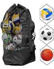NATUCE Sacca in Rete per palloni da Calcio per 10 - 15 Palline Grande Impermeabile Palline Heavy Duty Net Ball Tracolla Tappeto Palla da Calcio Basket pallavolo Borsa Tote Storage Sacco con Coulisse - Nero