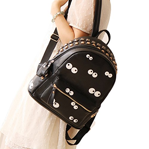 Women Girl's Big Eyes Cute Retro Pu Leather Backpack School Book Bags Shoulder Bag (Black) ()